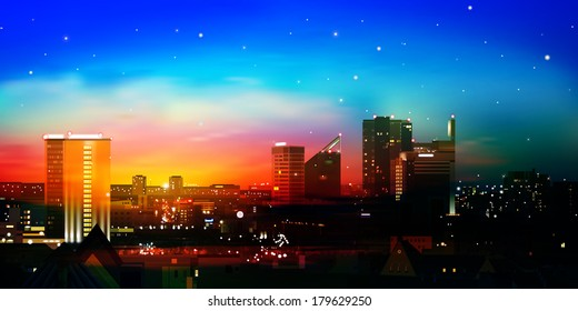 abstract nature blue background with city and red sunrise