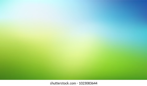 Abstract nature blurred background. Green gradient backdrop with sunlight. Ecology concept for your graphic design, banner or poster. Vector illustration.