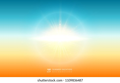 Abstract nature blurred sky background summer sunlight with flare sun. Vector illustration.