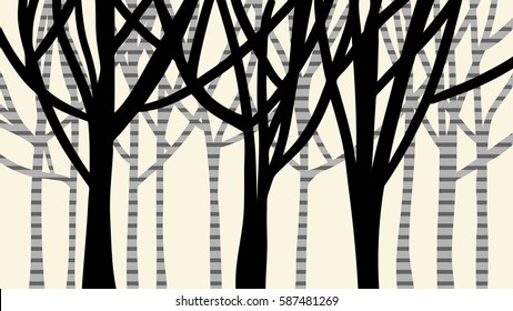 abstract nature design of trees in a forest with black silhouette of trunk and branches in foreground and gray striped birch or spotted tree bark concept in background