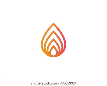 abstract nature element fire flame line logo. nature leaf icon. Alternative energy sources. minimal design vector illustration.