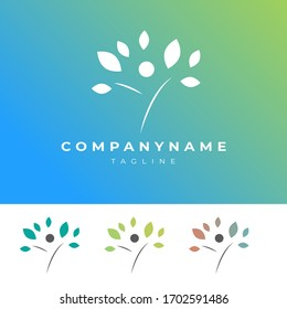 Abstract Nature and Human Logo with Leaf. Available in Multiple Color Variations. Perfect for Spa, Beauty, Wellness and related Business