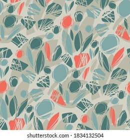 Abstract nature inspired hand drawn shapes seamless pattern for background, fabric, textile, wrap, surface, web and print design. orange and teal modern rapport for textile and surface design.