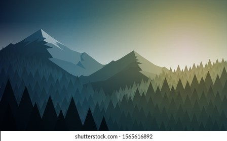 Abstract nature landscape. Mountain and forest. Vector illustration. Elements are layered separately in vector file.