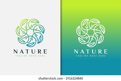 Abstract Nature Logo Based From Creative Geometric Lines. Vector Logo Illustration.