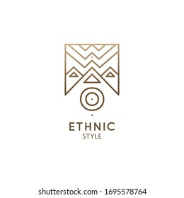 Abstract nature logo geometric elements. Square sacred symbol of mountains. Minimal outline icon of abstract landscape - business emblem