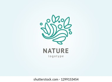 Abstract nature logo icon vector design. Healthy eco food, ecology, spa, business, diet , yoga, Environment day vector logo. Editable Design. Happy people with leaf logo. Fitness, sport web icon.