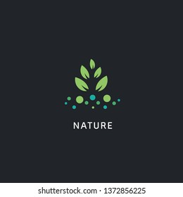 Abstract nature plant logo icon symbol with leaf and dot illustraion