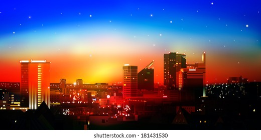 abstract nature red blue background with city and sunrise