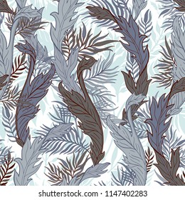 Abstract nature seamless pattern hand drawn. Ethnic ornament, floral print, textile fabric, botanical element. Vintage retro style. Image  of leaves and other natural objects. Vector illustration.