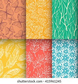 Abstract nature seamless pattern set. Butterfly, branches, feathers, flowers textures collection. Vector illustration
