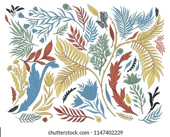 Abstract nature set collection hand drawn. Ethnic ornament, floral print, textile fabric, botanical element. Vintage retro style. Image  of leaves and other natural objects. Vector illustration.