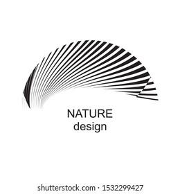 Abstract nature sign, symbol, logo, emblem, trendy geometric dynamic pattern, vector modern design element.