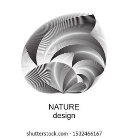 Abstract nature sign, symbol, logo, emblem, trendy geometric dynamic plant pattern, vector modern design element.