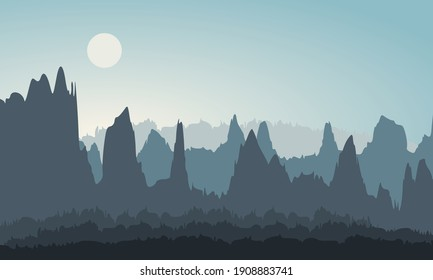 Abstract nature vector illustration. Silhouette landscape mountain range, hills and forest background.