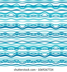 Abstract nautical background. Vector seamless ocean waves pattern.