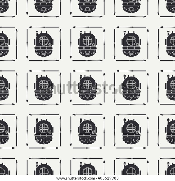 Abstract Nautical Seamless Background Pattern Harpoon Stock