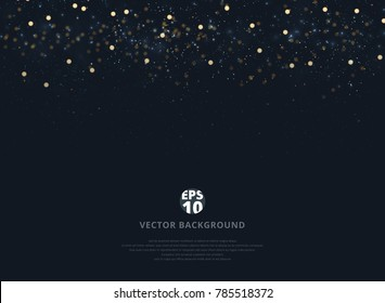 Abstract navy blue blurred background with bokeh and gold glitter header. Copy space. Vector illustration