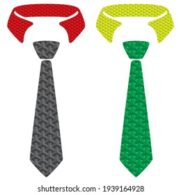 Abstract Necktie Vector Illustration. Symbol For Men's tie Isolated On White Background