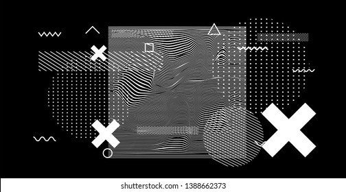 Abstract neo memphis black and white glitched generative art background with geometric composition. Conceptual illustration of high-tech/ cyberpunk technologies of future/ virtual reality.