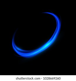 Abstract neon background. Blue round transparent light effect. Vector illustration