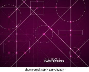 Abstract neon background of engineering drawing. Technological wallpaper made with circles and lines. Geometric design. Vector