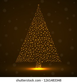 Abstract neon christmas tree of glowing snowflakes. Vector