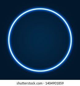 Abstract neon circle with glowing lines. Design element for your ad, sign, poster, banner. Vector illustration