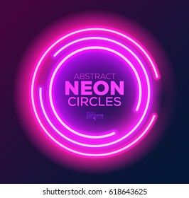 Abstract Neon Circles Banner. Vector illustration.