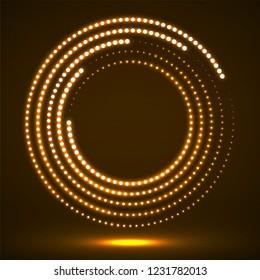 Abstract neon dotted circles. Glowing dots halftone circle. Vector