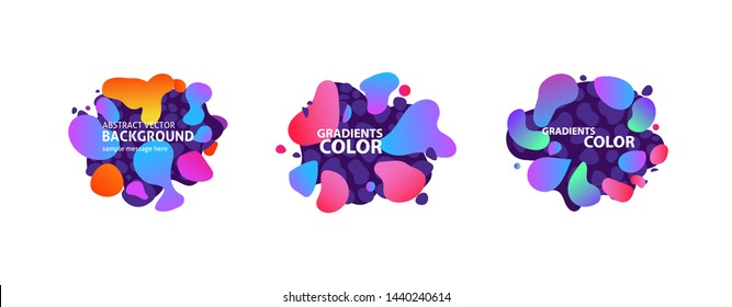 Abstract neon fluid shape set. Orange, purple, violet, blue, pink, red liquid forms. Gradient colors, text sample. Vector illustration for banners, posters, logos design