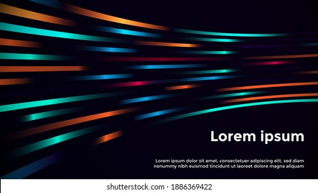 Abstract Neon Geometric Background Template. Dark Background with Bright and Glowing Neon purple, Orange, and Blue Lights. Neon Background Template. Easily Editable Vector EPS 10 Layout