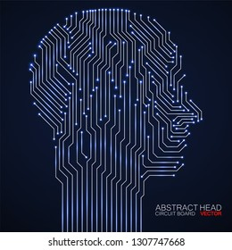 Abstract neon human head with circuit board. Technology concept. Vector