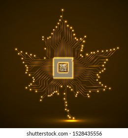 Abstract neon maple leaf with microprocessor inside, circuit board