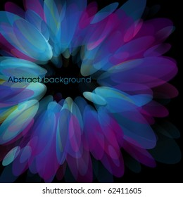 Abstract neon petals. Use for stylish design. Big copy space. Not cropped right side.