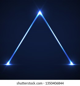Abstract neon pyramid with glowing lines. Vector design element