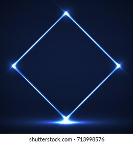 Abstract neon rhomb with glowing lines. Vector geometric element