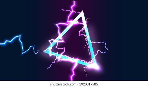 Abstract neon triangle background with lightning effect. Vector.