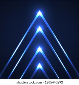 Abstract neon triangles with glowing lines. Vector