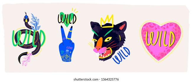 Abstract neon wild panther with crown, pink heart, snake and blue hand. Hand drawn trendy illustration. Set of four colorful logos. Perfect for textile prints. All elements are isolated