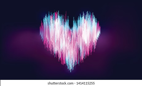 Abstract neon-like style, colorful gradient blue white pink heart shape on gradient dark blue purple background. Size Ratio 1920x1080 px. EPS10, vector, illustration.