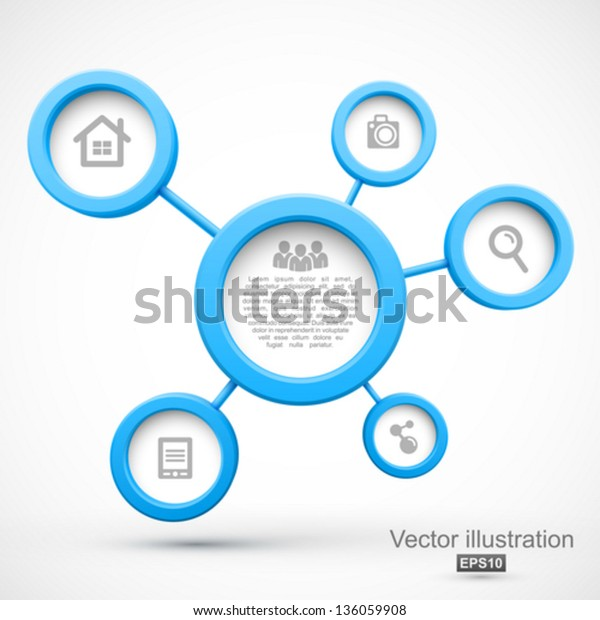 Abstract network with circles 3D.
