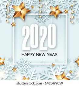 Abstract New Year 2020 banner design with frame, beauty background, golden stars, snowflakes and ribbons