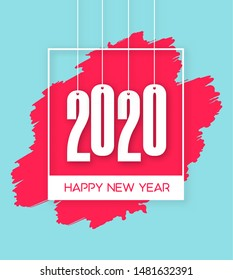 Abstract New Year 2020 banner design with frame, brushstroke and hanging numbers