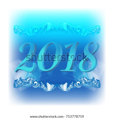 abstract new year background with blue tones with three dimensional figures 2018 vignette and