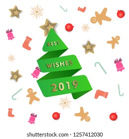 Abstract New year greeting card template with green paper cut Christmas tree in origami style. Best wishes 2019,  Memphis banner with Christmas toys and abstract geometric shapes. xmas vector image