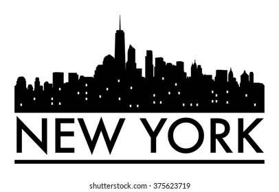 Abstract New York skyline, with various landmarks, vector illustration