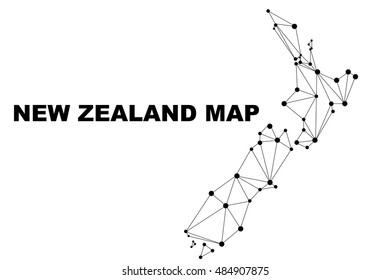 Abstract New Zealand map lines connection. Vector illustration