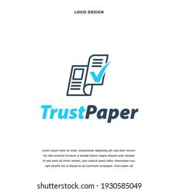 Abstract News Paper with checklist icon logo design vector illustration, News Paper trust luxury company branding Creative logo design