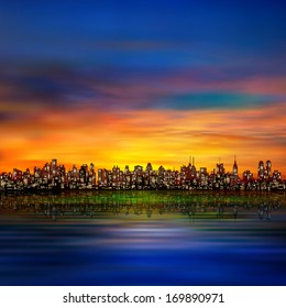 abstract night background with silhouette of city and golden sunset